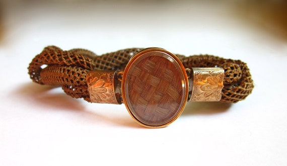 SALE- AWESOME Antique Victorian Woven Hair and Gold Mourning Bracelet