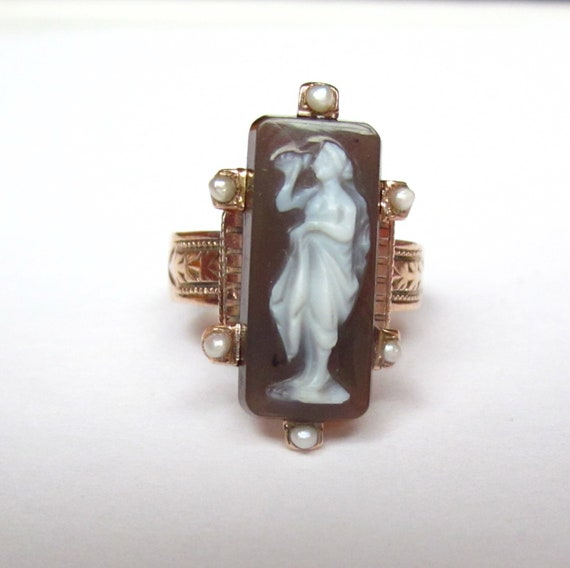 Antique Victorian Goddess of Wine Cameo 14K Rose Gold RIng