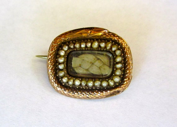 Antique Georgian OUROBOROUS Snake/Serpent Mourning Hair and Pearl Rose Gold Pin