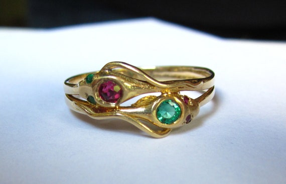 Antique 1920s ART DECO Entwined Serpent/Snake 14K Engagement RIng