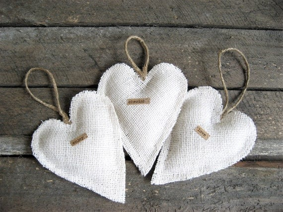 RESERVED Burlap Heart Ornaments (Set of Three)