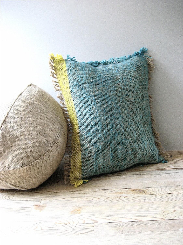 Woven Jute Pillow Throw Pillow Color Block