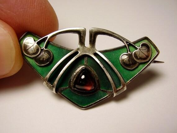 German Jugendstil Art Nouveau Pforzheim Depose 900 Silver Enamel Brooch Pin Garnet Cabochon Stone Deutsch Silber Emaille Stein Brosche