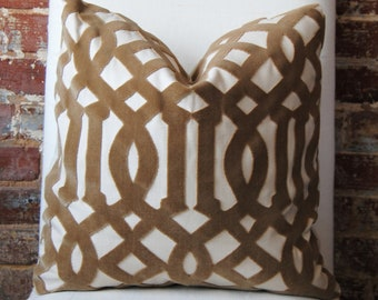 SALE! Imperial Trellis Velvet - Fawn - Pillow Cover - 18 in square - Designer Pillow - Decorative Pillow - Throw Pillow