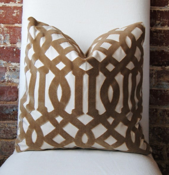 Imperial Trellis Velvet - Fawn - Pillow Cover - 18 in square - Designer Pillow - Decorative Pillow - Throw Pillow