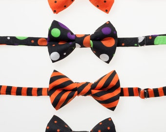 Boys Bowties - Halloween Stripes and Dots - Choose One - Sizes 6M - 9 years