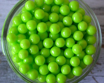 Lime Green Large Sugar Candy Beads - 7mm sprinkles, 2 oz. - For Cupcakes - Cookies - Cake Decorating - Ice Cream - Desserts - Edible Beads