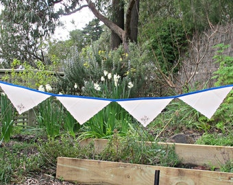 Vintage Linen Bunting Banner.  Bridal Napkins Shabby Chic Upcycled Rustic Wall Hanging. Royal Blue Flower Leaf Domum Vindemia Decor Handmade