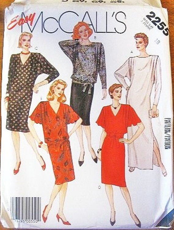 Women's Blouson Dress, Flutter or Dolman Sleeves, Top and Skirt - Vintage 1980s McCall's Easy Sewing Pattern 2255 - Bust 40 - Factory Folds
