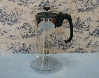 Pyrex Coffee Carafe Vintage Clear Glass with Silver Atomic Design, Mid Century Kitchen