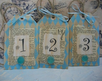 Handmade Numbered Gift Tags, Label Set, Cottage Style Embellishment, Hang Tags