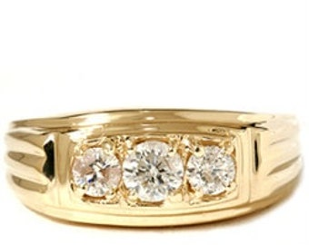 Yellow Gold Diamond Ring, Mens Gold Diamond Ring, .80ct Gold Diamond 14k Yellow Gold Diamond 3 Stone Ring Wedding Ring 14K Yellow Gold