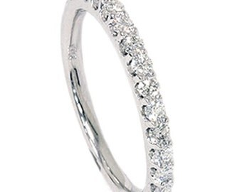 Diamond Prong Band .40CT 14K White Gold Ring