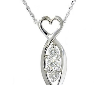 1/4CT 3 Stone Diamond Pendant 14K White Gold