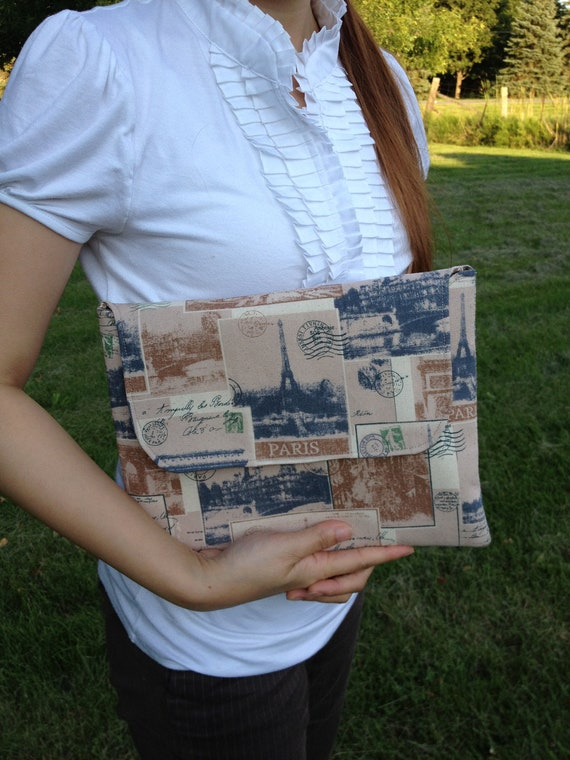Handmade iPad Sleeve / iPad cover / iPad Clutch / HP touchpad pouch with Double pocket : Antique Eiffel Tower linen cotton