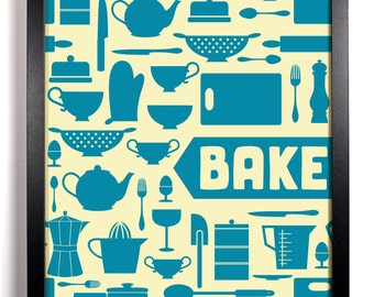 BAKE Kitchen Print, Home, Kitchen, Nursery, Bathroom, Dorm, Office Decor, Wedding Gift, Housewarming Gift, Unique Holiday Gift, Wall Poster