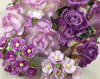 30 Mixed size of  Handmade Mulberry Paper Flowers Purple Roses Wedding