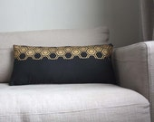 Black Decorative Pillow . Golden hexagon print. 30x60cm. Recycled Vintage Japanese Cotton Obi and Natural Linen. Modern Design.
