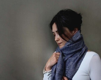 Sand and Sky Unisex Summer Scarf /Wrap. Blue/ grey Woven Line Scarf. Jacquard Linen Wrap. Eco Fashion