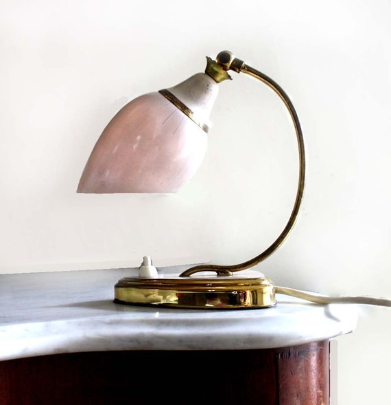 Small Midcentury Lamp. Adjustable Translucent Pink Glass Shade with Line Detail. Kidney Shaped Base. Golden Detail. Rare. eveteam