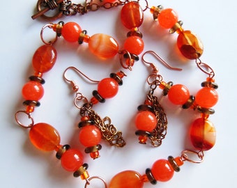 SALE Peaches and tangerine on copper set Earrings and Necklace  S101
