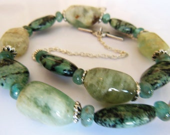 Aqua Marine and Jasper tender green Necklace  334