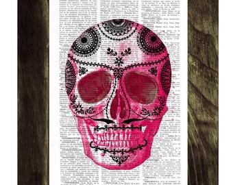 Summer Sale Day of the dead-Hot Pink Mexican Skull Dia de los muertos skull- Book Print Vintage Art Print Simple Skull SKA018