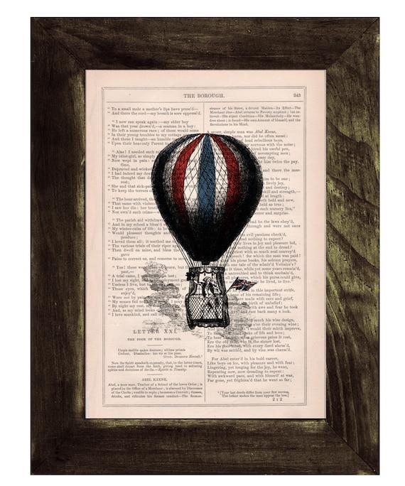 Spring Sale Book print Hot air Balloon classic style n03 Print on Vintage Book - mixed media art BPTV054