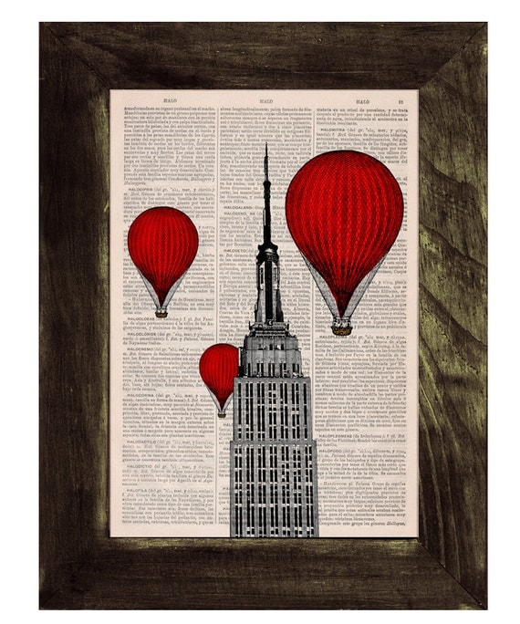 Spring Sale Vintage Book Print - New York Empire State Building Balloon Ride Print on Vintage Book BPTV091