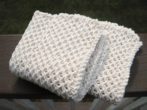 Cotton knit dishcloth - natural ecru