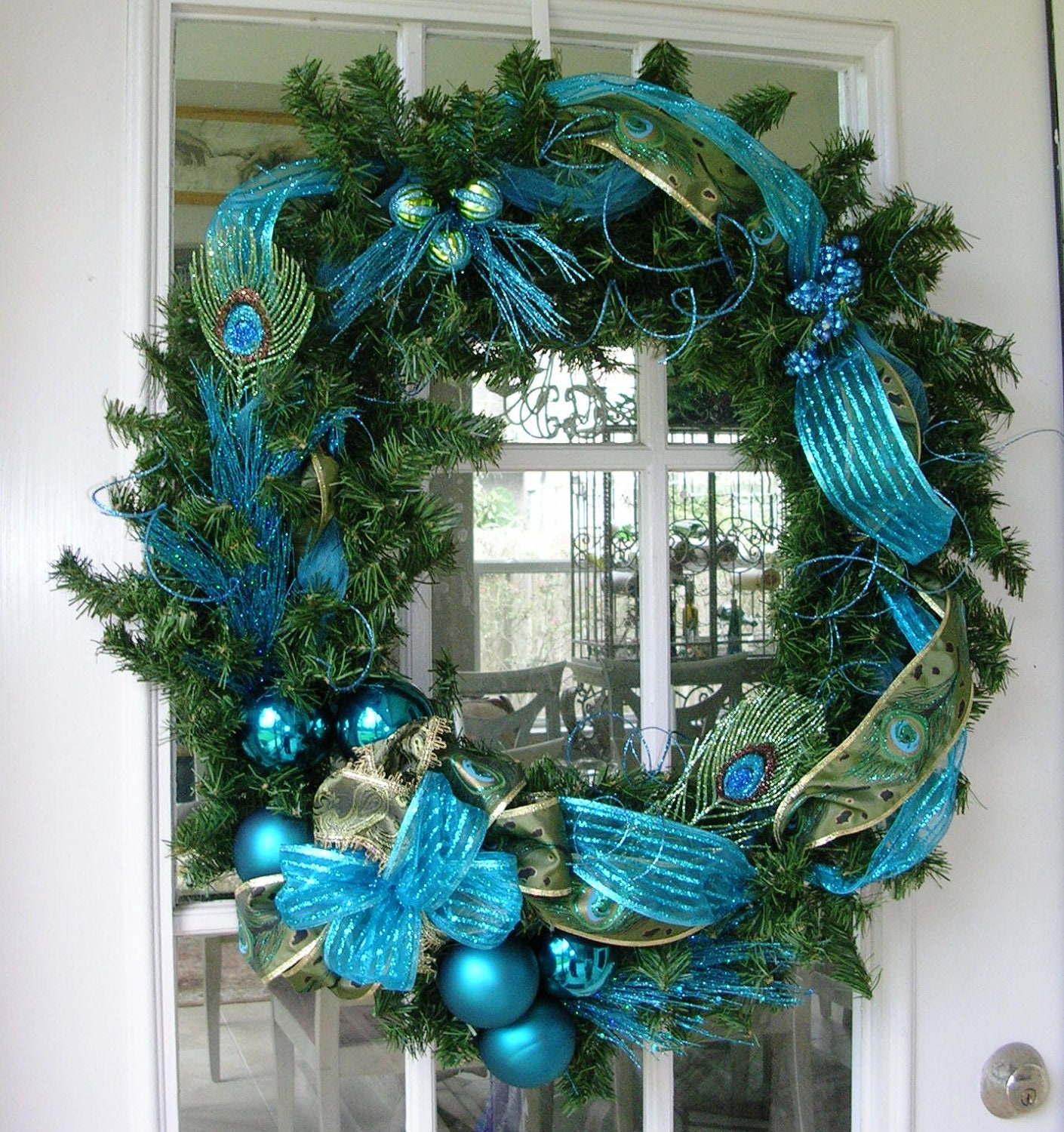 Peacock Green And Teal Blue Christmas Wreath