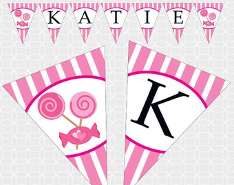 Pink Candy Party Banner, Printable file, Personalized