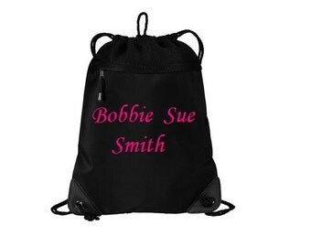 Very Nice 2 line Custom Personalized Embroidered Monogrammed Cinch Sack Backpack Cheer Dance Gym Tote Bag Gymnastics School Bridesmaid Gift