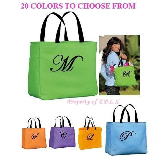 Personalized Tote Bag Bridesmaid Gift Cheer Dance Monogrammed Green Embroidered Baby Wedding 20 Colors