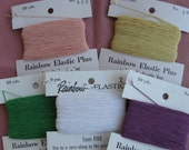 Rainbow Elastic a carry-along  thread to work a firmer ribbing or neckline as you knit your sweater