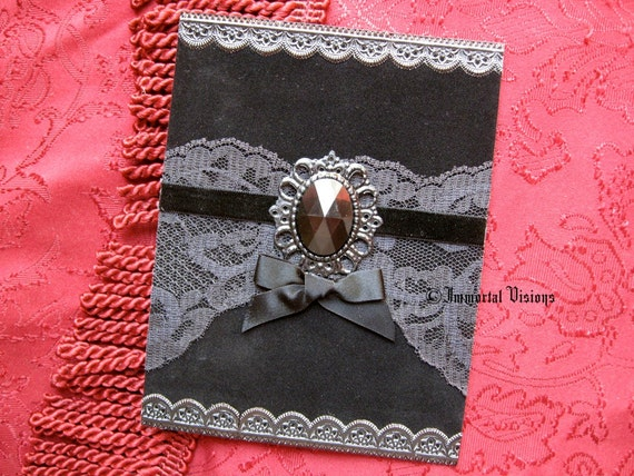Gothic Greeting Card - Black Velvet & Lace - Neo Victorian Mourning