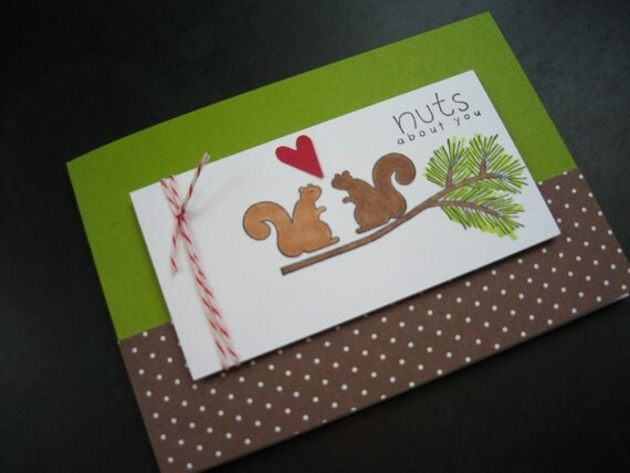 Anniversary Card I Love You Card Squirrels Nuts about You Handstamped