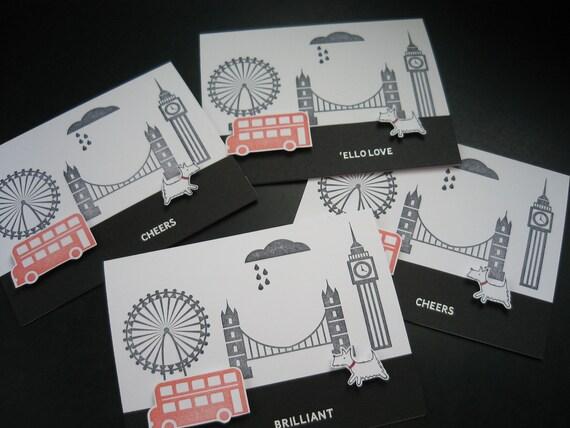 Handmade Greeting Card Set London England 2012 Olympics Westie West Highland Terrier Dog Set of 4 Cards