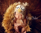 Sleepy Owl Earflap Hat newborn and baby--Custom Colors Available