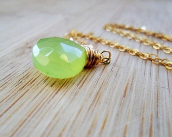 Lime Green Necklace, AAA Chalcedony 14k Gold Fill Neon Green Gemstone Jewelry Green Necklace Mothers Day