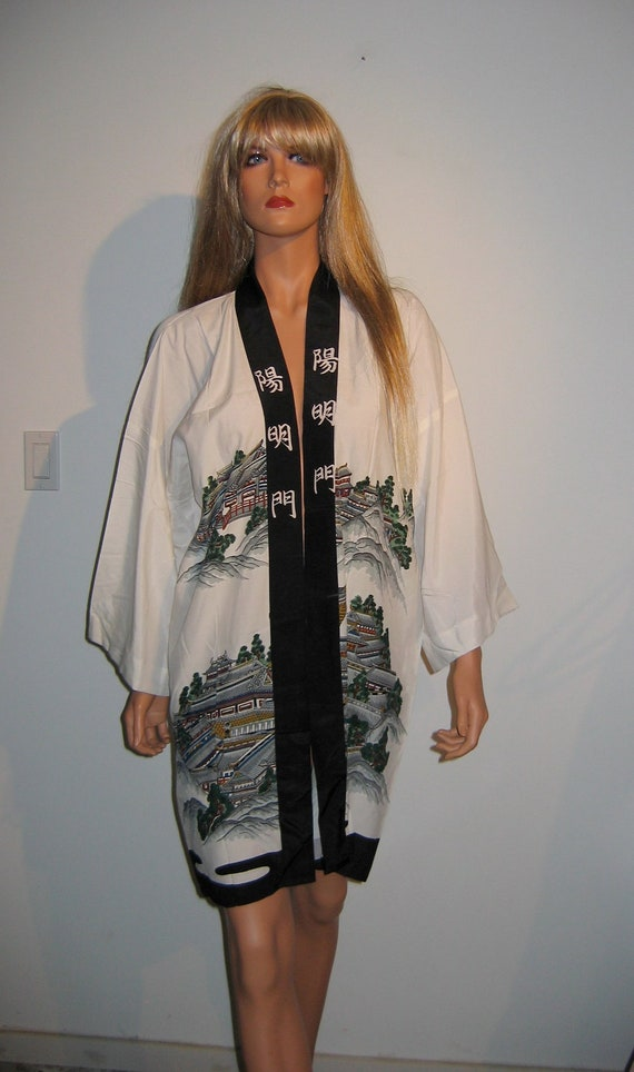 Women's Vintage Happi Coat or Kimono .    Handmade in Japan.  1960's.  Beautiful Robe