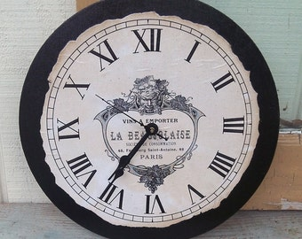 "French Clock | Paris | Paris Clock | Country | Shabby | Chic Style Clock | 12"" x 12"" 