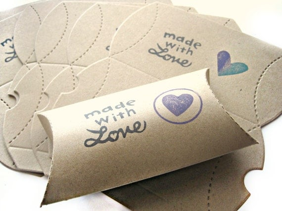Made with love - Jewelry box, pillow box, cut-outs - handstamped, purple heart, teal, purple ink, teal ink, two-toned - gift box - set of 8