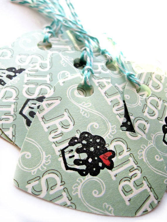 Paris cupcake tags - Cupcake tags - French tags, Paris - Thank you tags, gift tags - light green, mint green, heart, cute - set of 8