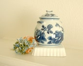 Ginger Jar container, cobalt blue roses with blue butterflies on a white background