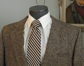 VINTAGE CROMBIE TWEED Mens Jacket Avacrombie Blazzer Multi Brown And Beige Wool Size About a 42 Short