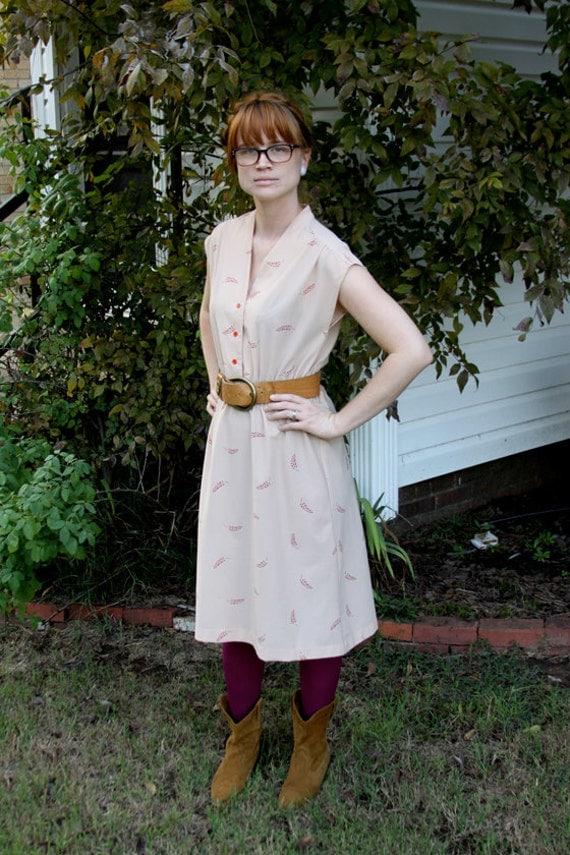 Tan, Red Leaf Print dress