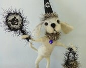 Halloween OOAK needle felted White Labrador Pup