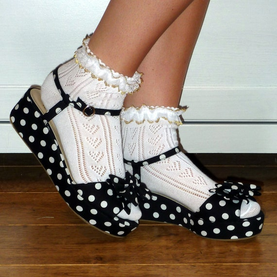 Gold lace frilly ankle  socks