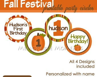 PRINTABLE PARTY CIRCLES Fall Festival Collection - Pumpkin - Birthday Party - Memorable Moments Studio